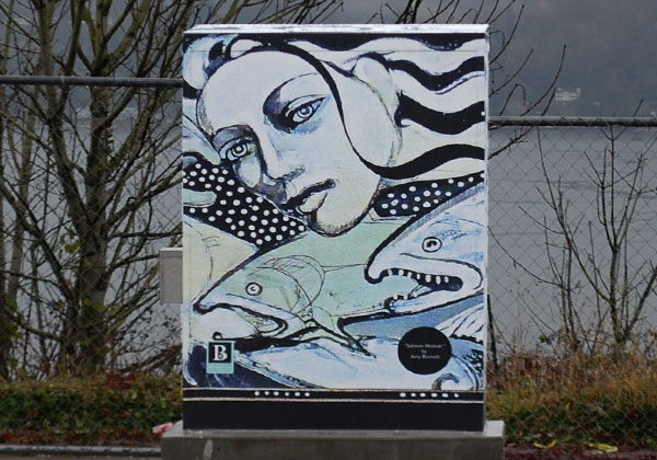 Salmon-Lady artwork on traffic cabinet